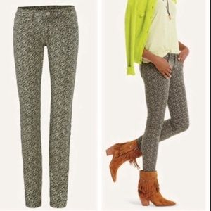 CAbi Skinny Ditsy Floral Print Green Jeans 5083